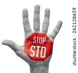 stop std red sign painted  ... | Shutterstock . vector #262128659