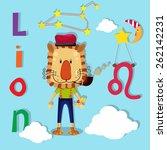 lion zodiac illustration  vector | Shutterstock .eps vector #262142231