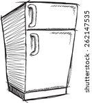 doodle sketch refrigerator... | Shutterstock .eps vector #262147535