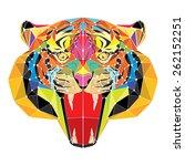 tiger head in geometric pattern ...   Shutterstock .eps vector #262152251