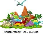 dinosaur cartoon with landscape ... | Shutterstock .eps vector #262160885