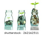 mix coins and seed in clear... | Shutterstock . vector #262162511