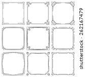 set of nine square elegant... | Shutterstock . vector #262167479