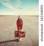 woman traveler holds vintage... | Shutterstock . vector #262168301