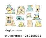 dogs variation doodle pastel... | Shutterstock .eps vector #262168331