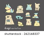 dogs variation doodle pastel... | Shutterstock .eps vector #262168337
