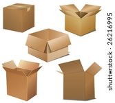 vector cardboard boxes. opened... | Shutterstock .eps vector #26216995