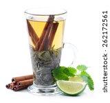 green tea  lime and  cinnamon. | Shutterstock . vector #262172561