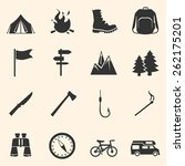 vector set of hiking and... | Shutterstock .eps vector #262175201