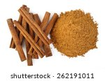 cinnamon sticks and powder on... | Shutterstock . vector #262191011