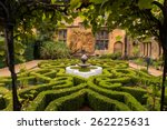 Old English Garden And Fountain