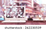 white notebook with social... | Shutterstock . vector #262230539