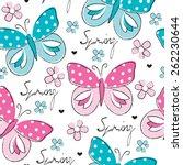 seamless butterfly and flower... | Shutterstock .eps vector #262230644