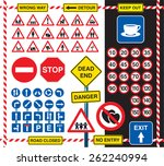 collection of road signs and... | Shutterstock .eps vector #262240994