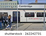 Small photo of LONDON, ENGLAND -15 MARCH 2015- Editorial: Abellio Greater Anglia trains bound for Cambridge, England, depart London from the Liverpool Street station.