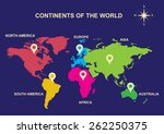 continents of the world ... | Shutterstock .eps vector #262250375