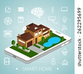smart home with outline icons...   Shutterstock .eps vector #262295699
