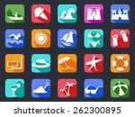 summer beach flat icons set... | Shutterstock .eps vector #262300895