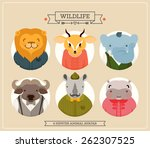cute fashion hipster animals | Shutterstock .eps vector #262307525