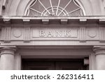 Bank sign over entrance door in ...