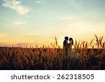 lovely wedding couple in sunset   Shutterstock . vector #262318505