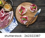 wine appetizers set  meat and... | Shutterstock . vector #262322387