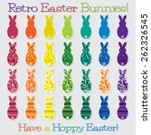 Bright Retro Happy Easter Bunn...