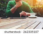 cropped image male freelancer... | Shutterstock . vector #262335107
