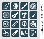icons set of bicycle parts and... | Shutterstock .eps vector #262344215