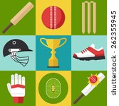 vector set of cricket icons in... | Shutterstock .eps vector #262355945