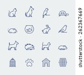 pets related icon set in thin... | Shutterstock .eps vector #262367669
