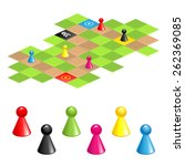 set of color gaming pieces and  ... | Shutterstock .eps vector #262369085