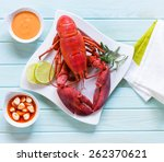 Red Lobster On Blue Table