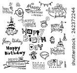 doodle happy birthday | Shutterstock .eps vector #262372244