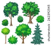 set of cartoon trees and shrubs ... | Shutterstock .eps vector #262392545