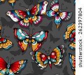 old school butterflies on a... | Shutterstock .eps vector #262397804