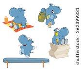 a set of hippos cartoon | Shutterstock .eps vector #262399331