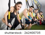 Group Of People Training In...