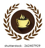 Golden Coffee Cup Icon With...