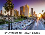 los angeles downtown buildings... | Shutterstock . vector #262415381