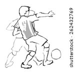 two men playing football.... | Shutterstock .eps vector #262432769