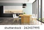 modern interior of dining room... | Shutterstock . vector #262437995