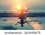 silhouette meditation girl on... | Shutterstock . vector #262445675