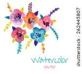 watercolor floral composition.... | Shutterstock .eps vector #262445807