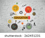 education icons on a gray... | Shutterstock . vector #262451231