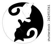 yin yang cats  | Shutterstock .eps vector #262451561