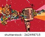 vector vintage microphone on... | Shutterstock .eps vector #262498715