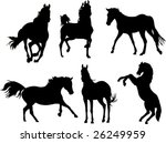 Set Of Horse Silhouette...