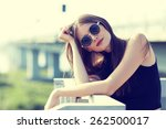 young smiling woman in... | Shutterstock . vector #262500017