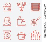 kitchen utensils icons  thin...   Shutterstock .eps vector #262504739